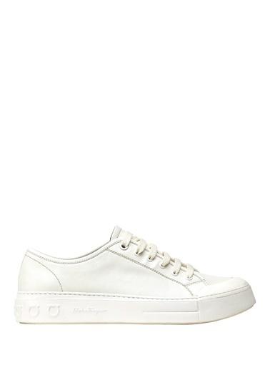 Salvatore Ferragamo Salvatore Ferragamo Gancini  Erkek Deri Sneaker 101569068 Beyaz